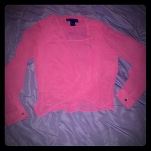 Kardashian hot pink blouse. XS but fits a medium